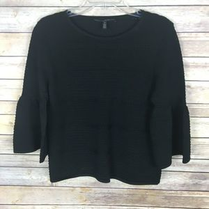 WHBM Knit Top Size Small Black 3/4 Bell Sleeve